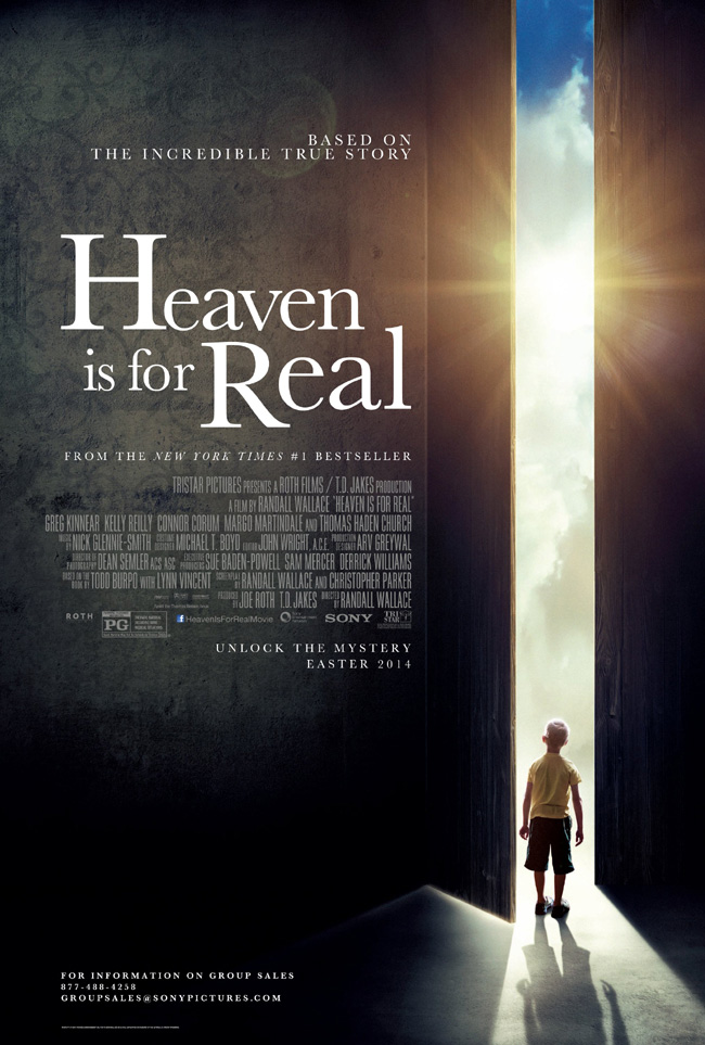 The movie poster for Heaven is For Real with Greg Kinnear