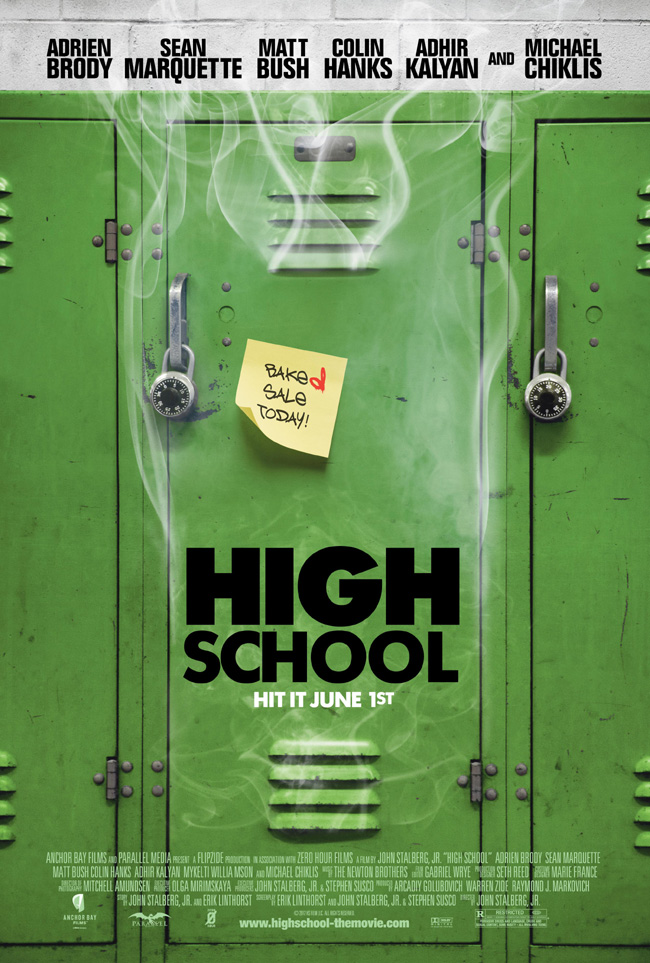 The High School movie poster with Adrien Brody, Matt Bush and Colin Hanks