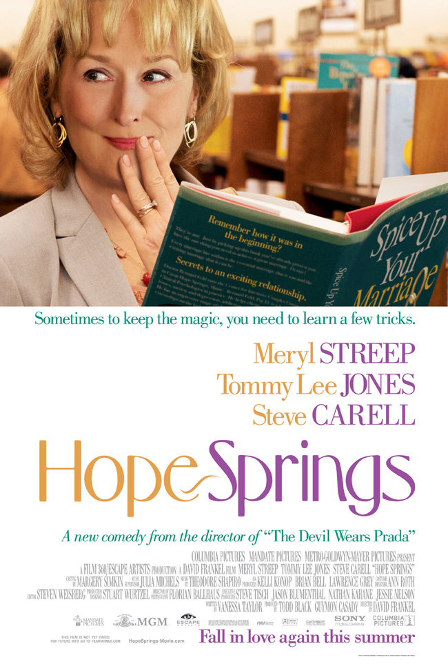 The Hope Springs movie poster with Meryl Streep, Tommy Lee Jones and Steve Carrell
