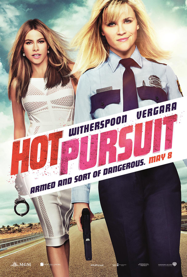 The movie poster for Hot Pursuit starring Sofia Vergara and Reese Witherspoon