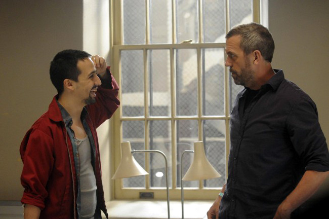 Hugh Laurie as Dr. Gregory House with Lin-Manuel Miranda as Alvie for the sixth season of House