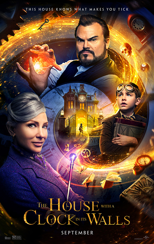 The movie poster for The House with a Clock in Its Walls starring Cate Blanchett and Jack Black