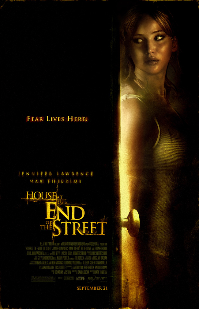 The movie poster for House at the End of the Street starring Jennifer Lawrence and Elisabeth Shue