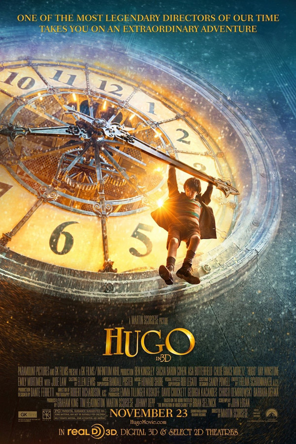 The movie poster for Hugo starring Jude Law and Ben Kingsley from director Martin Scorsese