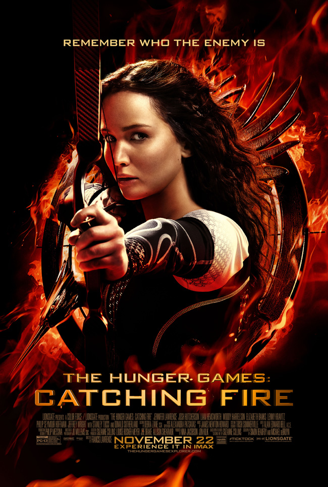 The movie poster for The Hunger Games: Catching Fire starring Jennifer Lawrence and Josh Hutcherson