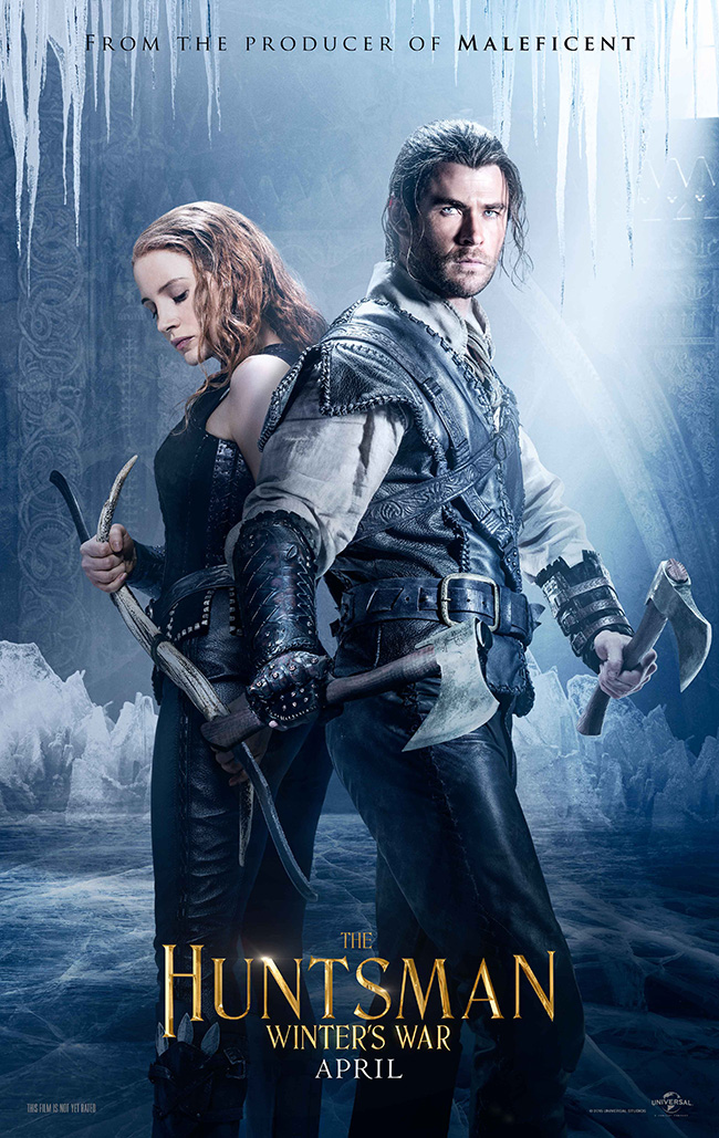 The movie poster for The Huntsman: Winter's War starring Chris Hemsworth and Jessica Chastain
