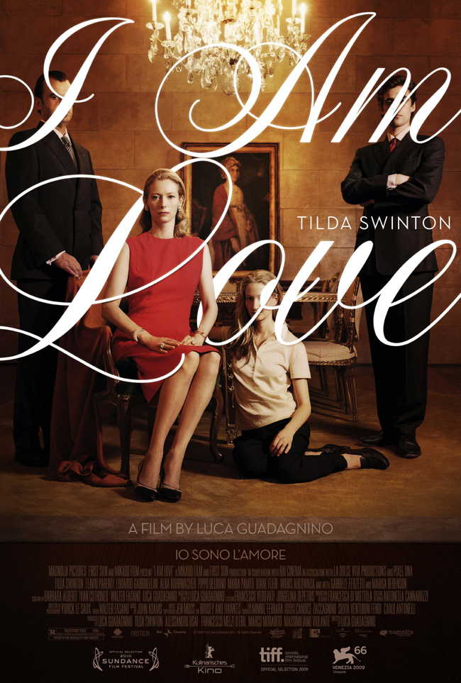 The movie poster for I Am Love with Tilda Swinton