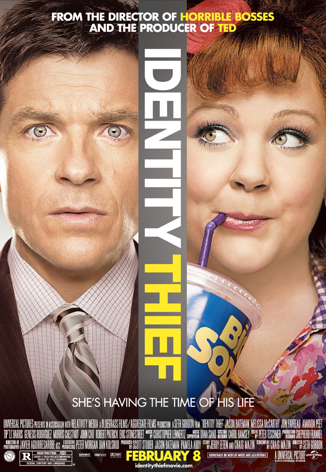 The movie poster for Identity Thief starring Jason Bateman and Melissa McCarthy