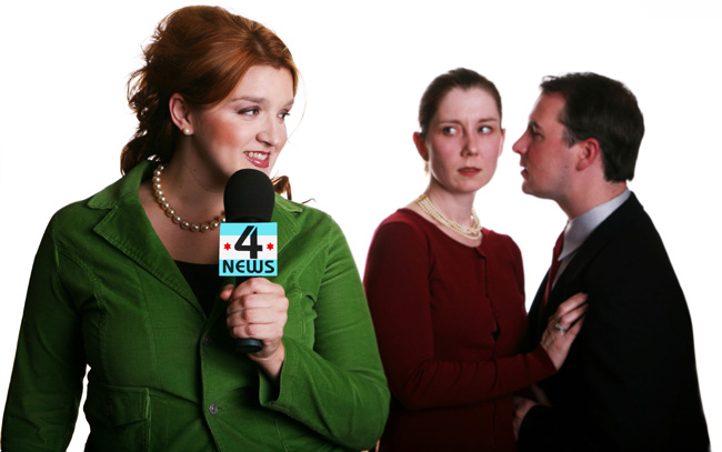 Karen Mosher (Shannon Hoag, left) digs up a scandal between the Cook County president's daughter (Cindy Weltz) (played by Kat McDonnell, center) and campaign manager Daniel Deering (John Ferrick, right) in Brett Neveu's world-premiere musical Old Town, which runs from April 27 to May 31, 2008 at the Strawdog Theatre in Chicago