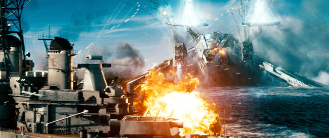 Alien invaders attack a naval ship in Battleship