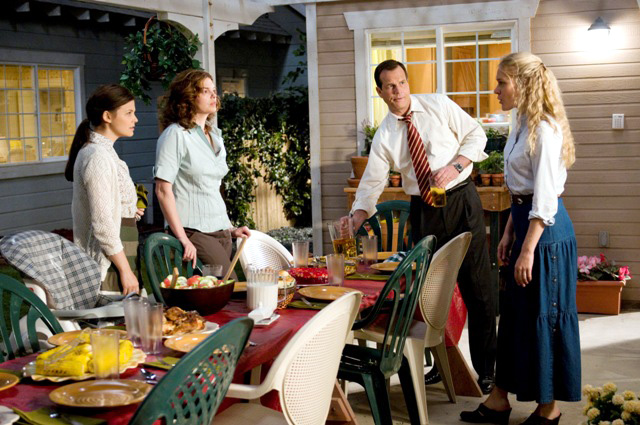 From left to right: Ginnifer Goodwin, Jeanne Tripplehorn, Bill Paxton and Chloe Sevigny in season three of Big Love on HBO