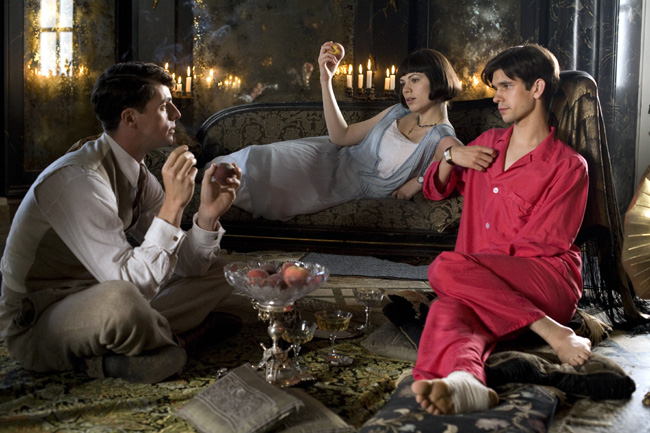 Matthew Goode as Charles Ryder, Hayley Atwell as Julia Flyte and Ben Whishaw as Sebastian Flyte in Brideshead Revisited