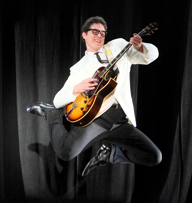 Justin Berkobien stars as Buddy Holly in the Chicago musical Buddy: The Buddy Holly Story at the Drury Lane Theatre Water Tower Place