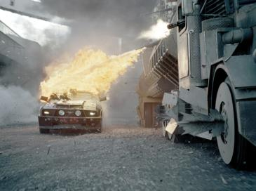 Frankenstein's Monster is attacked by the Dreadnought in Death Race