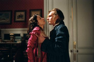 Jeanne Balibar as Antoinette de Langeais and Guillaume Depardieu as Armand de Montriveau in The Duchess of Langeais, which is directed by Jacques Rivette