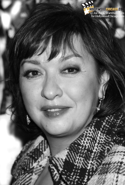 Elizabeth Pena poses for the HollywoodChicago.com lens in Chicago on Dec. 1, 2008 at the Music Box Theatre for the red-carpet premiere of Nothing Like the Holidays
