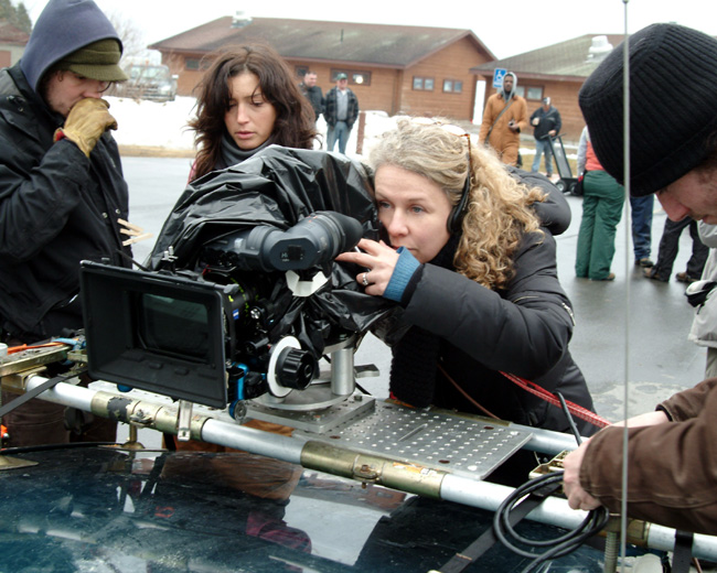 Director Courtney Hunt on the set of Frozen River