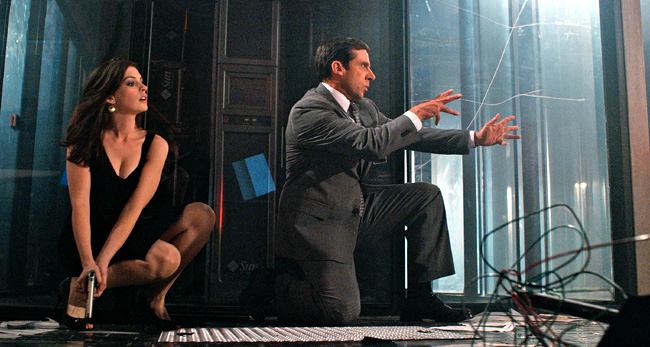 Steve Carell stars as Maxwell Smart (left) and Anne Hathaway stars as Agent 99 in Get Smart