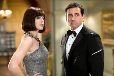 Anne Hathaway (left) stars as Agent 99 and Steve Carell stars as Maxwell Smart in Get Smart