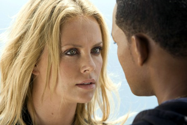 Charlize Theron (left) and Will Smith in Hancock