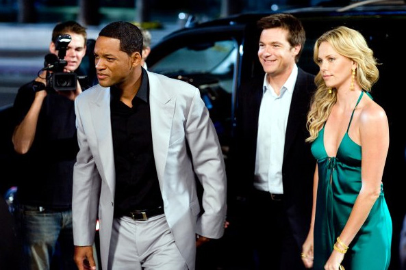 Will Smith (second from left), Jason Bateman (second from right) and Charlize Theron in Hancock
