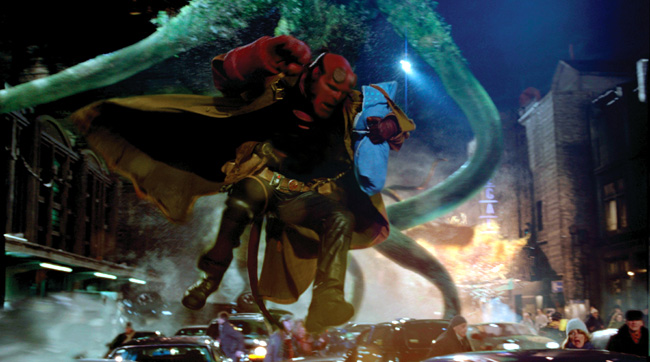Hellboy (Ron Perlman) does battle with an elemental in Hellboy II: The Golden Army