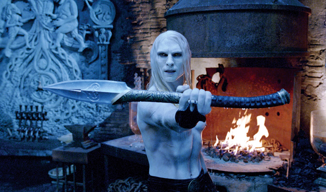 Ruthless leader Prince Nuada (Luke Goss) challenges his enemy in Hellboy II: The Golden Army