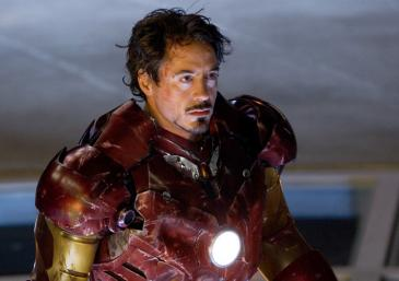 Tony Stark (Robert Downey Jr.) in his battle-scarred Mark III armor in Iron Man