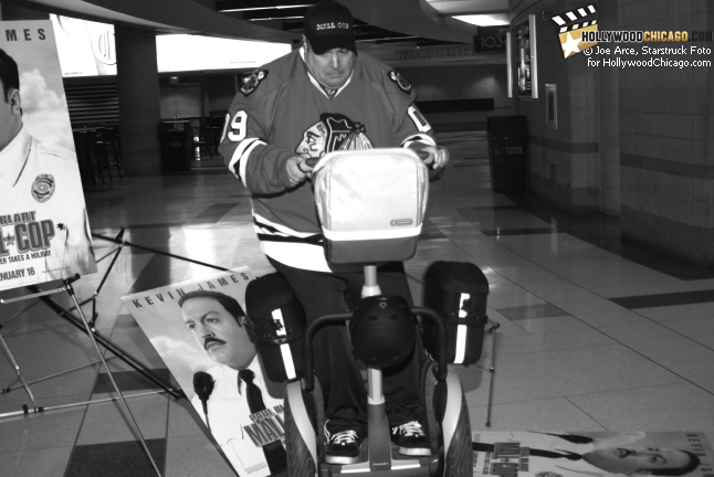 Paul Blart: Mall Cop star Kevin James secures the perimeter at the first-ever Deputy Mall Cop Tryouts for the Chicago Blackhawks children's charity on Jan. 13, 2009 at Chicago's United Center
