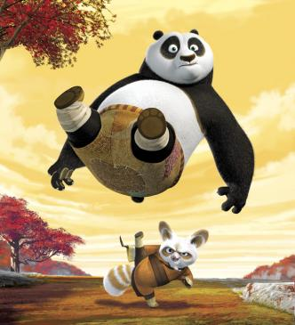 Unexpectedly chosen to fulfill an ancient prophecy and train in the art of kung fu, giant panda Po (Jack Black, above) begins his study under Master Shifu (Dustin Hoffman, below) in DreamWorks' Kung Fu Panda