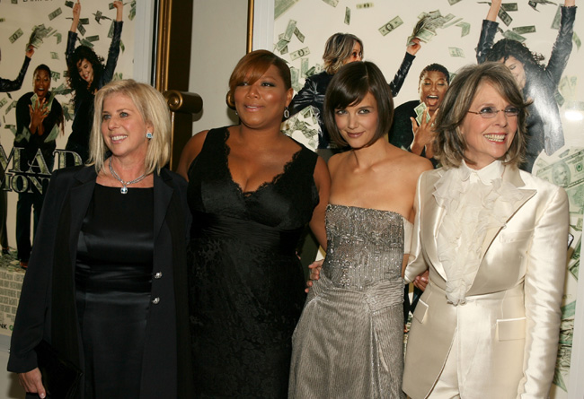 Katie Holmes, Diane Keaton and Queen Latifah at the Mad Money red-carpet premiere in Los Angeles on Jan. 9, 2008