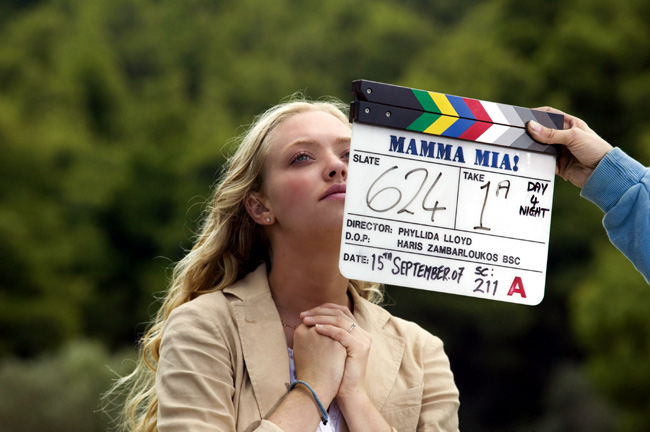 Amanda Seyfried as Sophie Sheridan on the set of the musical romantic comedy Mamma Mia!