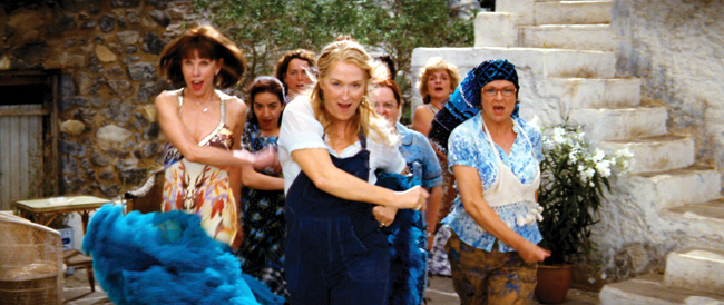 Left to right: Tanya Chesham-Leigh (Christine Baranski), Donna Sheridan (Meryl Streep) and Rosie Rice (Julie Walters) lead the Greek chorus in the musical romantic comedy Mamma Mia!