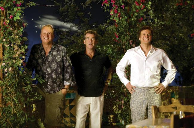 Left to right: Bill Anderson (Stellan Skarsgard), Sam Carmichael (Pierce Brosnan) and Harry Bright (Colin Firth) in the musical romantic comedy Mamma Mia!