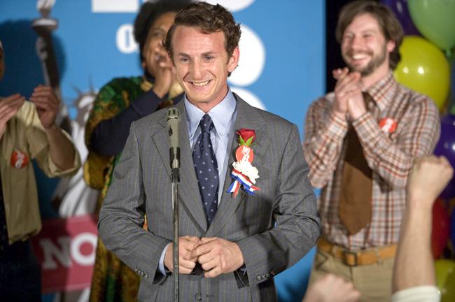 Sean Penn stars as real-life gay rights icon Harvey Milk in director Gus Van Sant's Milk