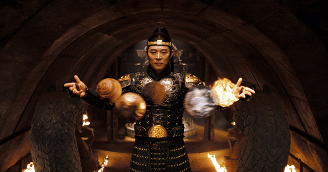 The vicious emperor (Jet Li) conjures the elements in The Mummy: Tomb of the Dragon Emperor, which races from the catacombs of ancient China high into the spectacular Himalayas