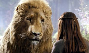 Liam Neeson (the voice of the lion Aslan) along with Georgie Henley (right) in The Chronicles of Narnia: Prince Caspian