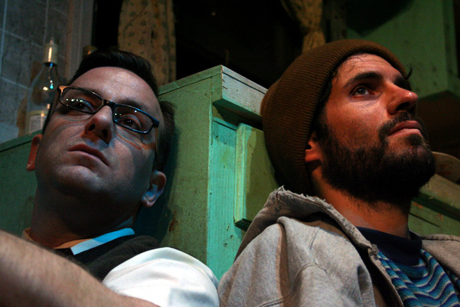 Stef Tovar (Jack) and Johnny Clark (Robert) star in On an Average Day at the Victory Gardens Greenhouse Theater
