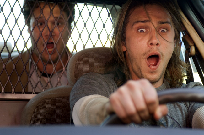 Dale Denton (Seth Rogen, left) and Saul Silver (James Franco, right) are two lazy stoners in Pineapple Express
