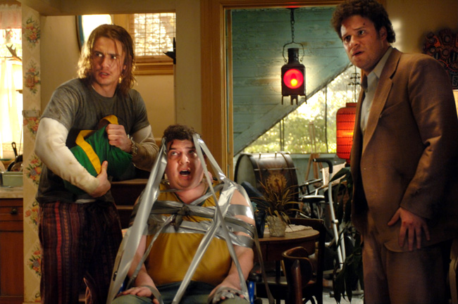 Saul Silver (James Franco, left), Red (Danny McBride, center) and Dale Denton (Seth Rogen, right) in Pineapple Express