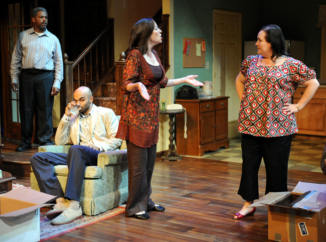 From left: Dexter Zollicoffer plays Arthur, Usman Ally is Yousef, Laura T. Fisher plays Beth and Penny Slusher is Jan in Chicago playwright James Sherman's newest family comedy Relatively Close, which runs in Chicago through July 13, 2008