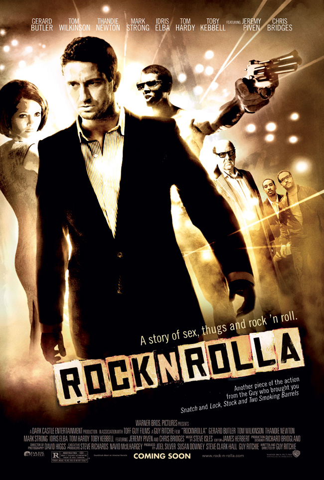 RocknRolla features Gerard Butler, Thandie Newton, Tom Wilkinson, Jeremy Oiven and Mark Strong