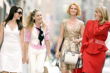 Left to right: Kristin Davis as Charlotte York-Goldenblatt, Sarah Jessica Parker as Carrie Bradshaw, Cynthia Nixon as Miranda Hobbes and Kim Cattrall as Samantha Jones in New Line Cinema's Sex and the City: The Movie