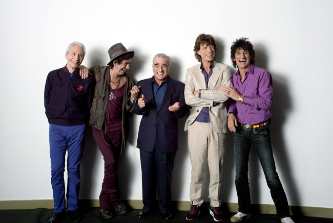 Left to right: Charlie Watts, Keith Richards, director Martin Scorsese, Mick Jagger and Ronnie Wood backstage during filming of The Rolling Stones concert film Shine a Light