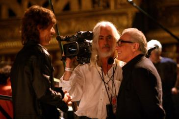 Left to right: Mick Jagger, director of photography Robert Richardson and director Martin Scorsese in Shine a Light