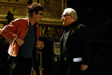 "Keith Richards (left) and director Martin Scorsese backstage at the Beacon Theater while filming the Rolling Stones concert film ""Shine a Light""."