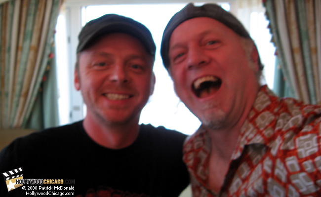 How to Lose Friends and Alienate People star Simon Pegg in Chicago on Aug. 27, 2008 with Patrick McDonald