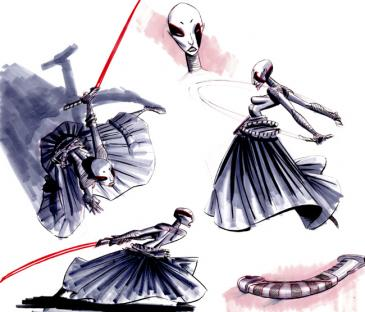 This image is Asajj Ventress (Nika Futterman) concept art for Star Wars: The Clone Wars