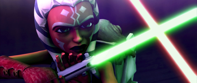 Ahsoka Tano (Ashley Eckstein) engages in battle with an enemy in Star Wars: The Clone Wars