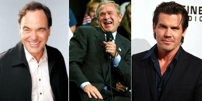 From left to right: Oliver Stone, George W. Bush and Josh Brolin
